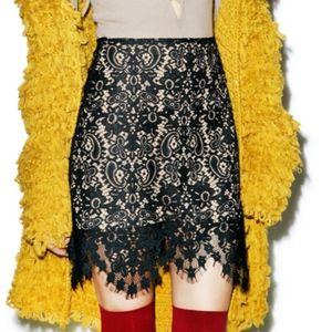 For Love & Lemons 'Vika' Black Lace Miniskirt Sz M